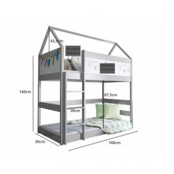 Łóżko piętrowe DOMEK 2 160x80- szare