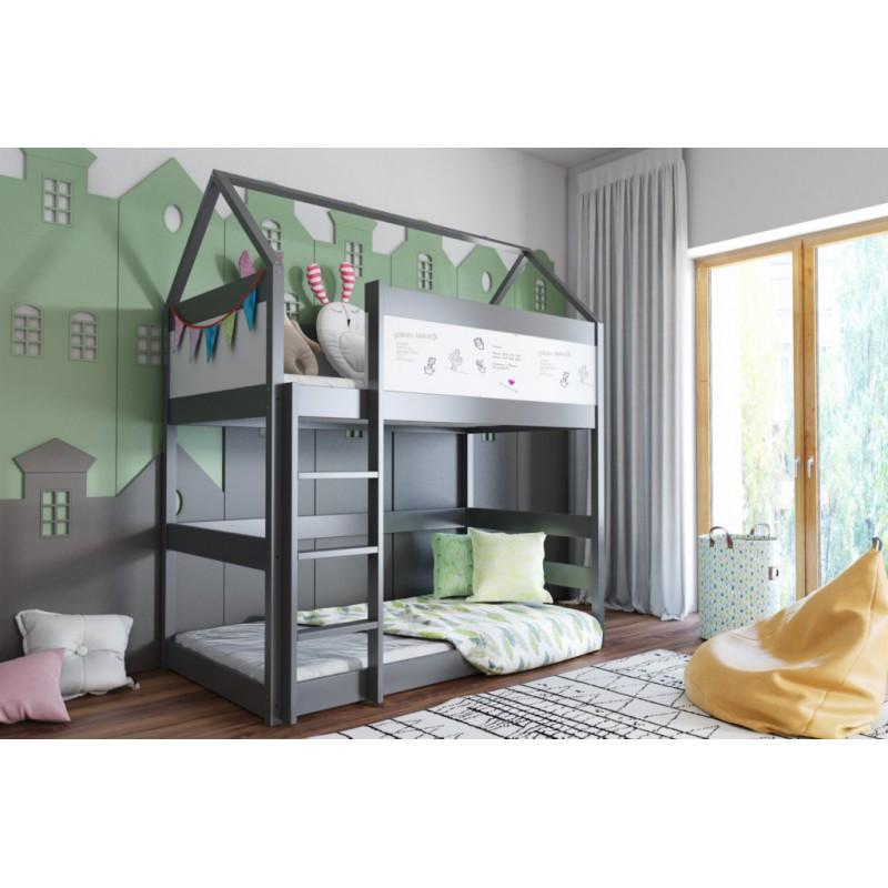 Łóżko piętrowe DOMEK 2 160x80- grafit