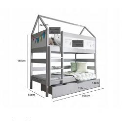 Łóżko piętrowe DOMEK BIS 2 160x80- biały