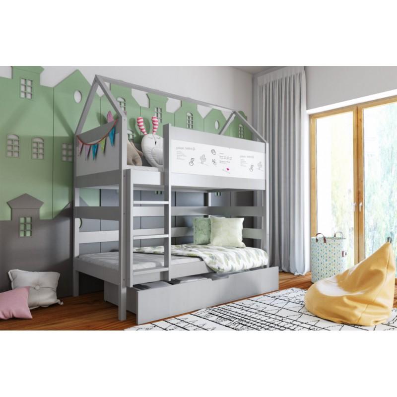Łóżko piętrowe DOMEK BIS 2 160x80- szary