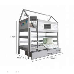 Łóżko piętrowe DOMEK BIS 2 160x80-sosna