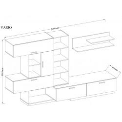 Meblościanka VARIO - ST biały połysk/dąb lancelot