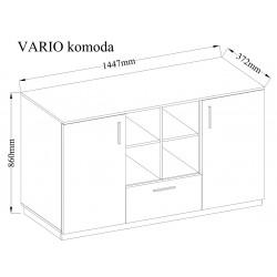 Komoda VARIO - ST biały połysk/dąb lancelot